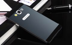 Galaxy A7 Back Logo Metal Bumper Case