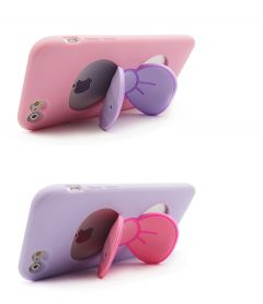 Cute Kitty Bow with Stand Function Silicone Case for iPhone 5/5S