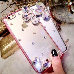 Elegant Gem Bling Rhinestones Flower Design Clear Hard Shell Case for iPhone 6 Plus 5.5 inches