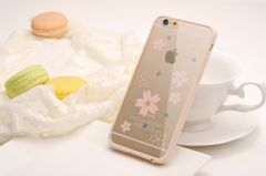 Pastel Flower Bumper Clear Silicone Case for iPhone 6 Plus 5.5 inches
