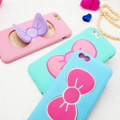 Cute Kitty Bow with Stand Function Silicone Case for iPhone 6 Plus 5.5 inches
