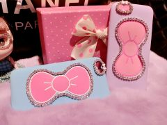 Cute Bling Bling Rhinestone Kitty Bow with Stand Function Silicone Case for iPhone 6 5.5 inches