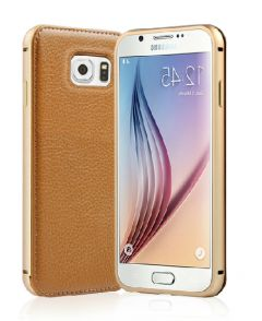Elegant Leather Metal Bumper Frame Case for Galaxy S6 Edge