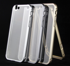 0.5mm Thin Metal Bumper Frame with Transparent Backplate Protective Case for iPhone 6 Plus 5.5 inches