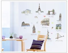 Colourful American & European Monuments Structures Decorative Wall Art Stickers