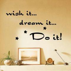 """""""Wish it, Dream it, Do it!"""" Stars Wall Art Decal Stickers"""