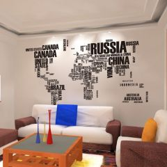 Map of the World Typography Wall Art Sticker Decal