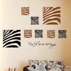 Zebra Animal Print Stylish Square Wall Art Decorative Sticker